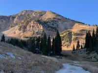 Another view of Mount Baldy. The deep scar in the right third of the photo is the Tombstone area. The scree slope on the left below Baldy is the Ballroom area.