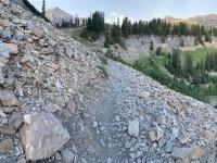 Near the top of the Giant Staircase. Mount Timpanogos is the peak on the left, Bomber Peak is the next highest (apparent) rounded peak in the right third of the skyline, followed by North Timpanogos at the far right.